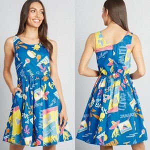 Dresses & Skirts - 🇺🇸 Modcloth Optimistic Effect Travel Print Dress